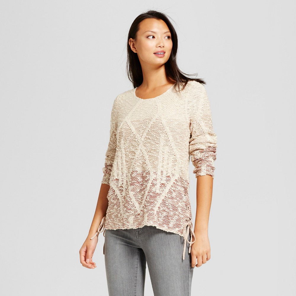 Womens Ombre Side Tie Pullover Sweater - Knox Rose Cream S, Multicolored