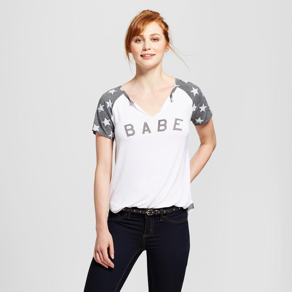 Womens Babe Split Neck Graphic T-Shirt White Xxl - Grayson Threads (Juniors)