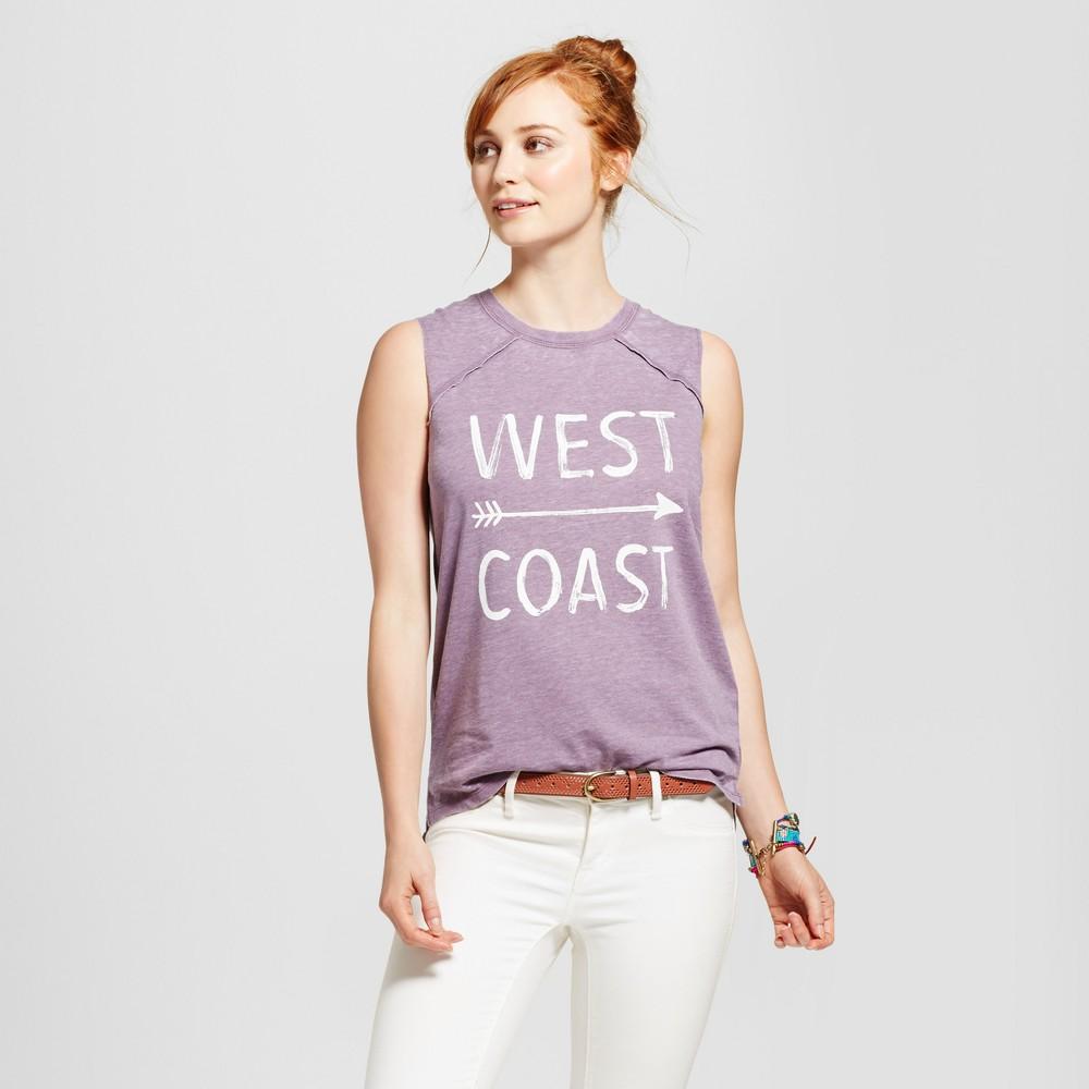 Womens West Coast Graphic Tank Top Charcoal Gray XS - Grayson Threads (Juniors), Purple