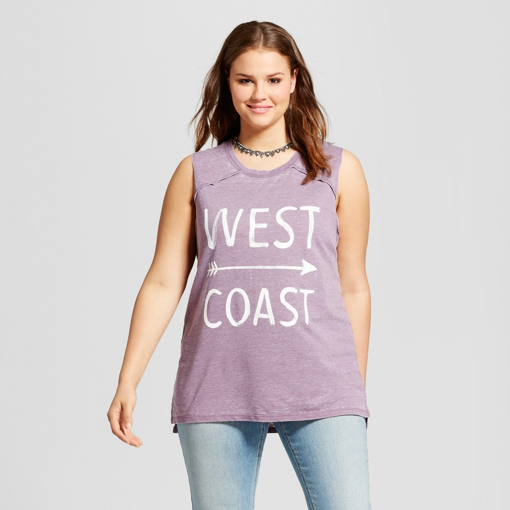 Womens Plus Size West Coast Graphic Tank Top Charcoal Gray 2X - Grayson Threads (Juniors), Purple