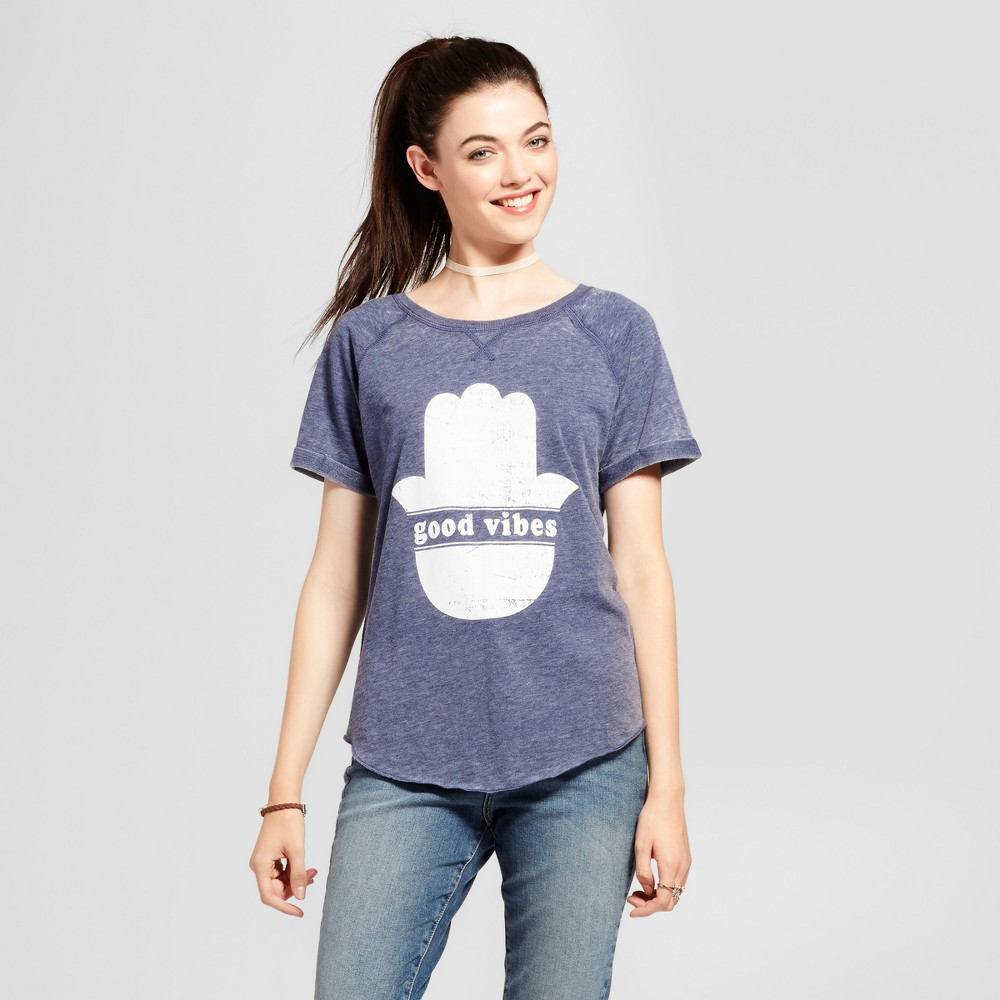 Womens Good Vibes Graphic T-Shirt Blue XL - Grayson Threads (Juniors)