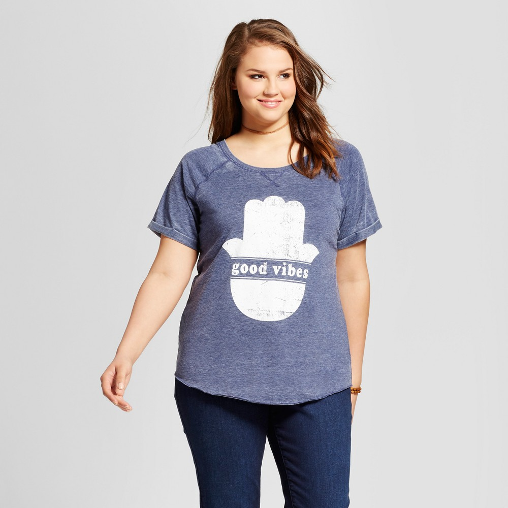 Womens Plus Size Good Vibes Graphic T-Shirt Blue 3X - Grayson Threads (Juniors)