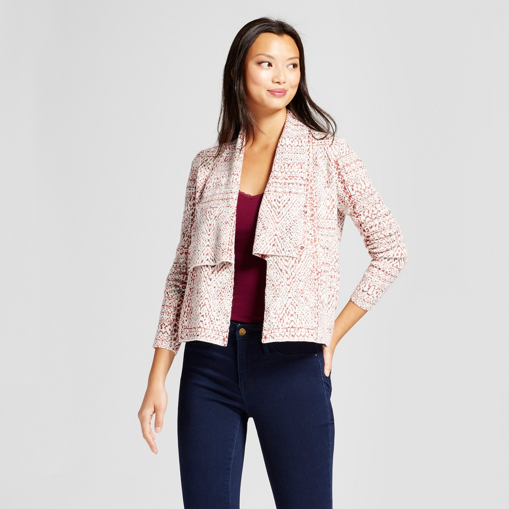 Womens Jacquard Open Cardigan - Knox Rose Ivory/Red L, Multicolored