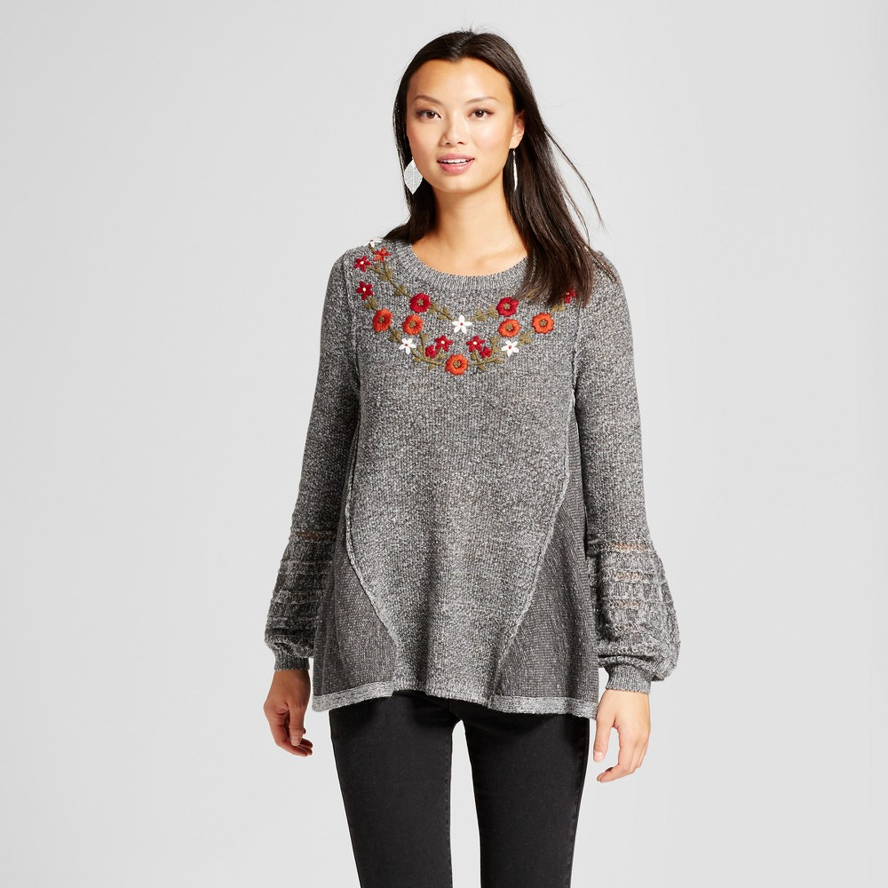 Womens Embroidered Sharkbite Sweater - Knox Rose Gray XS