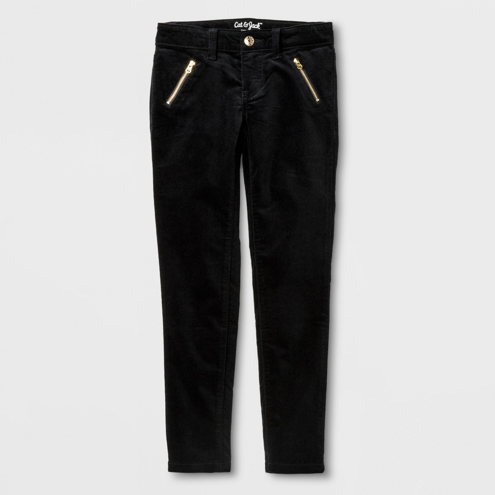Girls Velvet Skinny Fashion Pants - Cat & Jack Black 18