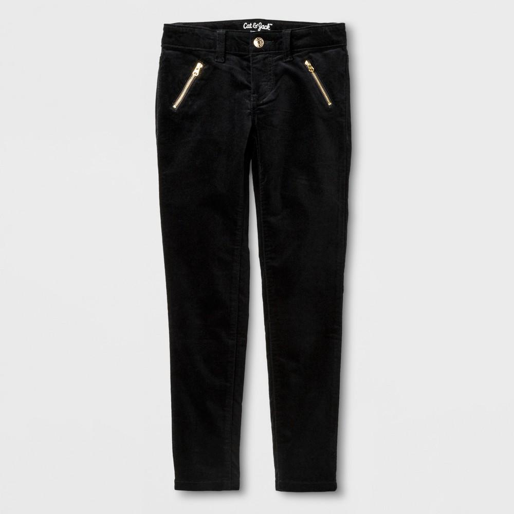 Girls Velvet Skinny Fashion Pants - Cat & Jack Black 6