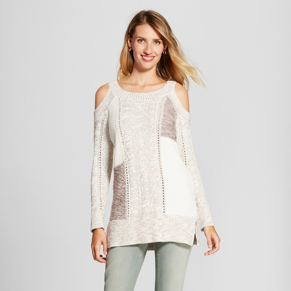 Womens Patchwork Could Shoulder Tunic Sweater - Knox Rose Ivory L, Multicolored