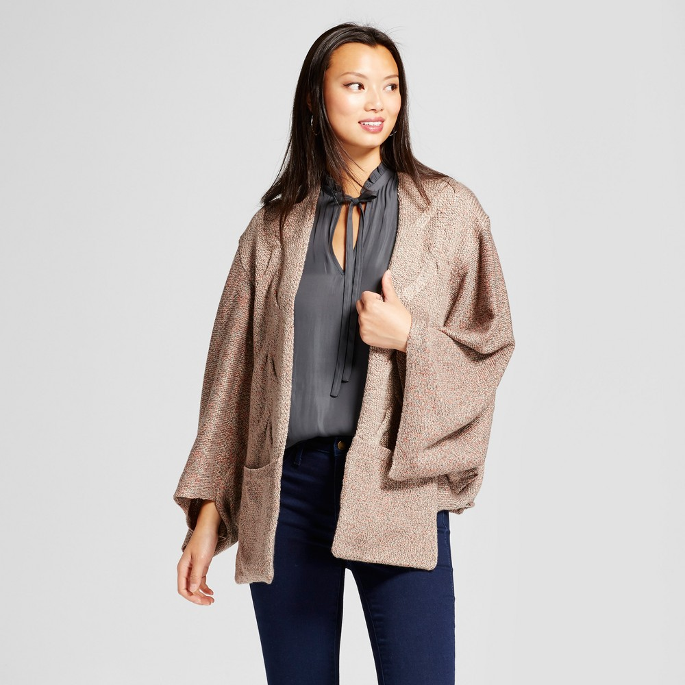 Womens Open Cardigan with Pockets - Knox Rose Taupe M, Multicolored