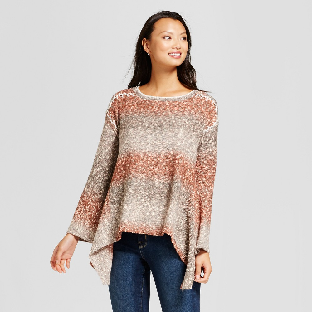 Womens Sharkbite Ombre Sweater - Knox Rose Orange/Gray XS, Multicolored