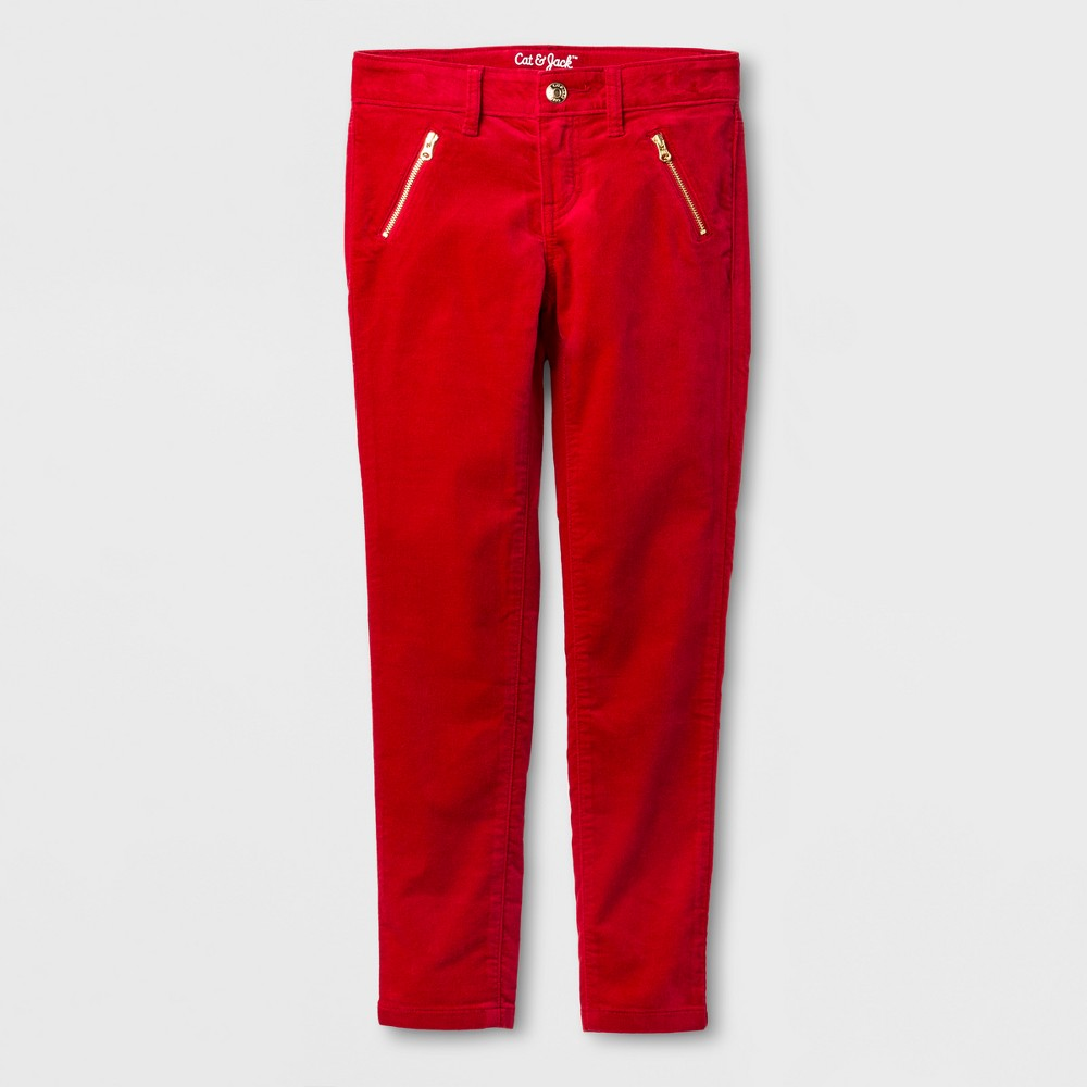 Girls Velvet Skinny Fashion Pants - Cat & Jack Red Velvet 16