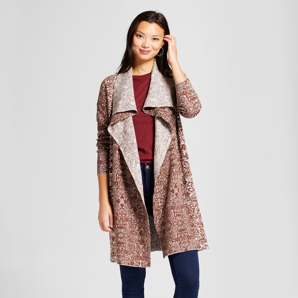 Womens Jacquard Open Duster Cardigan - Knox Rose Red XL, Multicolored