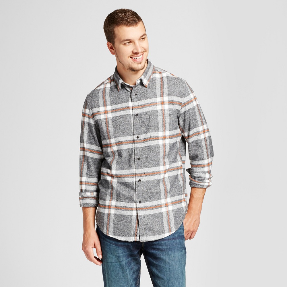 Mens Heavyweight Flannel Shirt - Goodfellow & Co Gray Xxl