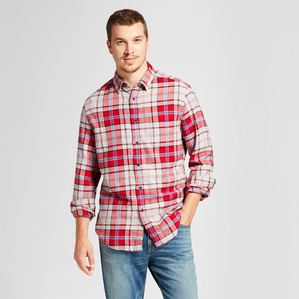Mens Heavyweight Flannel Shirt - Goodfellow & Co Red L