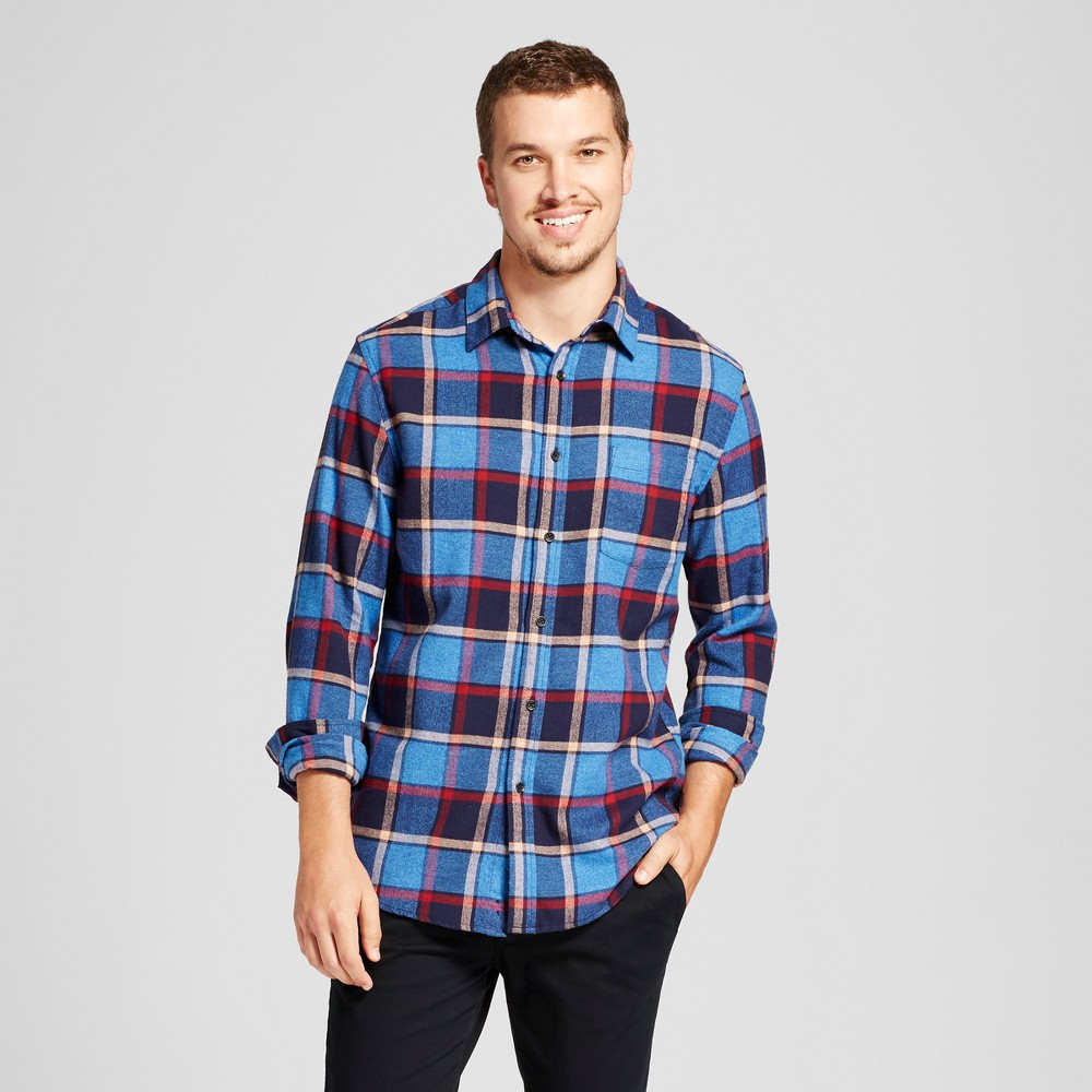 Mens Heavyweight Flannel Shirt - Goodfellow & Co Blue XL