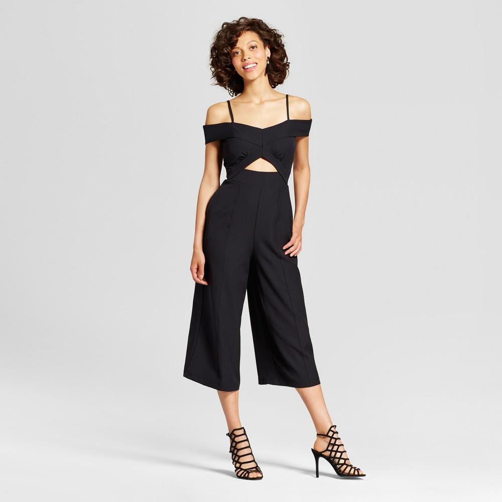 Womens Off the Shoulder Cut-Out Culotte Jumpsuit - Xoxo (Juniors) Black S