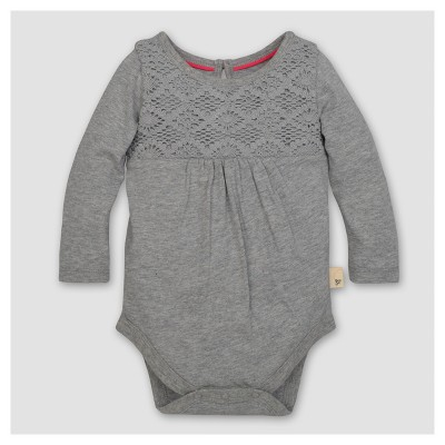 Burt's Bees Baby® Girls' Organic Crochet Yoke Gathered Bodysuit - Heather Gray 3-6M