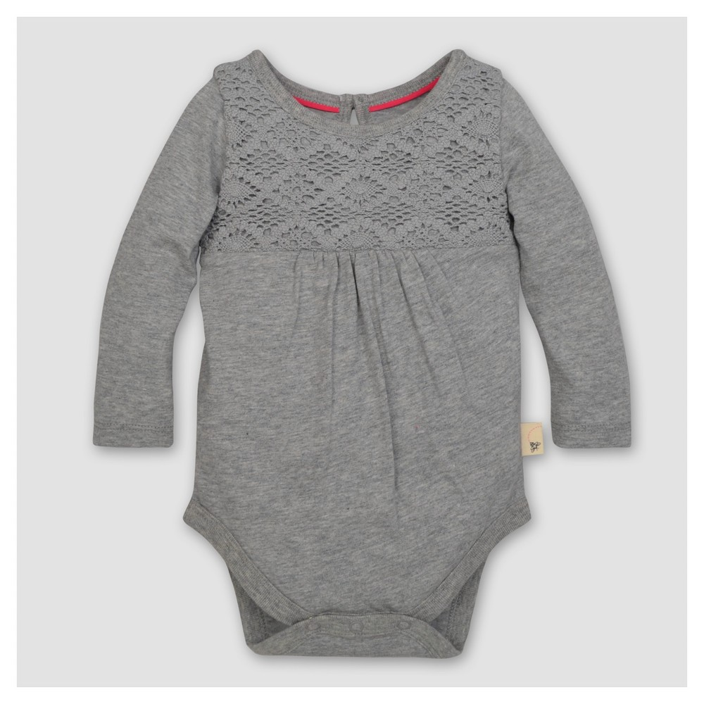 Burt's Bees Baby Girls' Organic Crochet Yoke Gathered Bodysuit - Heather Gray 3-6M, Size: 3-6 M