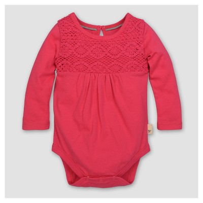 Burt's Bees Baby® Girls' Organic Crochet Yoke Gathered Bodysuit - Magenta 0-3M