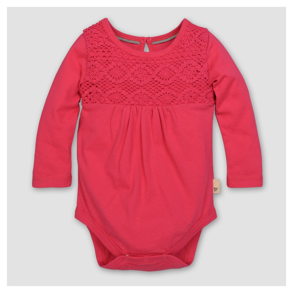 Burts Bees Baby Girls Organic Crochet Yoke Gathered Bodysuit - Magenta 18M, Size: 18 M, Pink