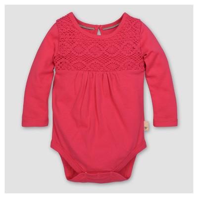 Burt's Bees Baby® Girls' Organic Crochet Yoke Gathered Bodysuit - Magenta 24M
