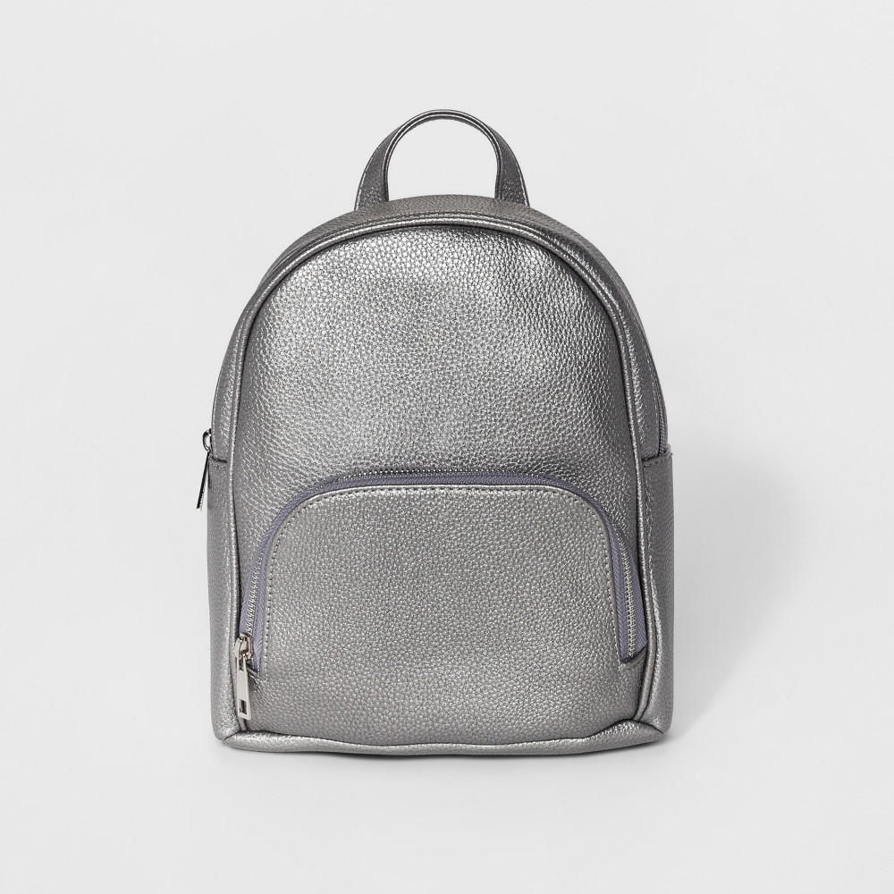 Womens Omg! Accessories Vegan Leather Mini Backpack - Gunmetal (Grey)