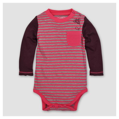Burt's Bees Baby® Girls' Organic Striped Bee Pocked Bodysuit - Magenta 6-9M