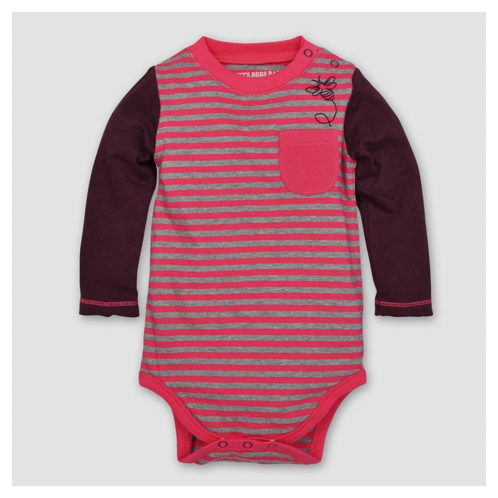 Burt's Bees Baby Girls' Organic Striped Bee Pocked Bodysuit - Magenta 6-9M, Size: 6-9 M, Pink