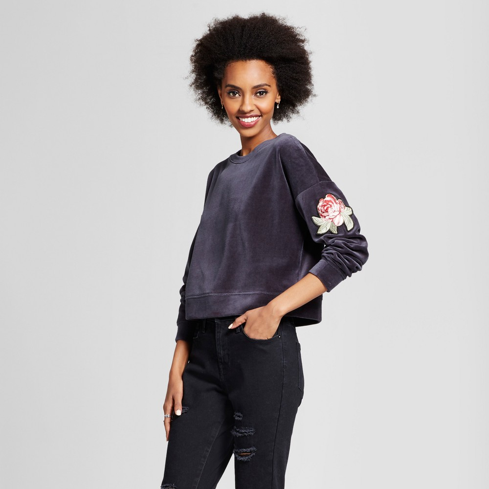 Womens Pullover with Patch - Xhilaration (Juniors) Black M