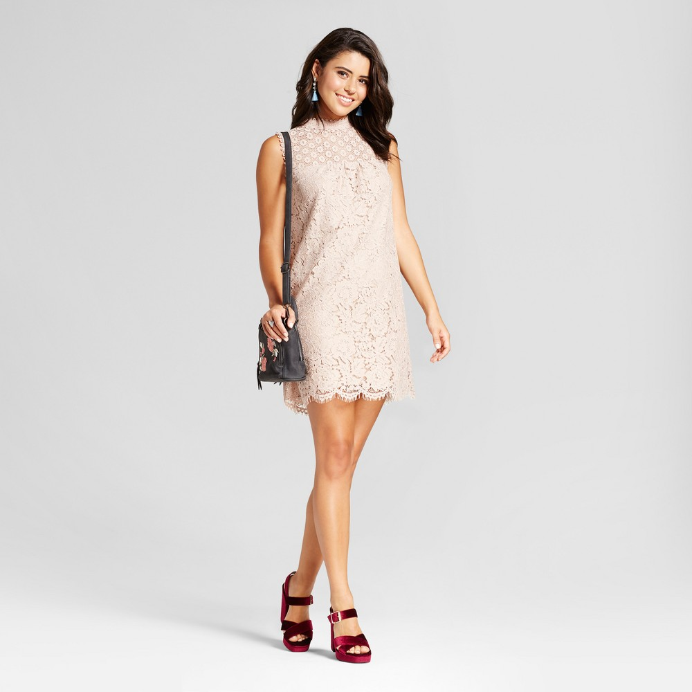 Womens Lace High Neck Shift Dress - Xhilaration (Juniors) Cocoa (Brown) M