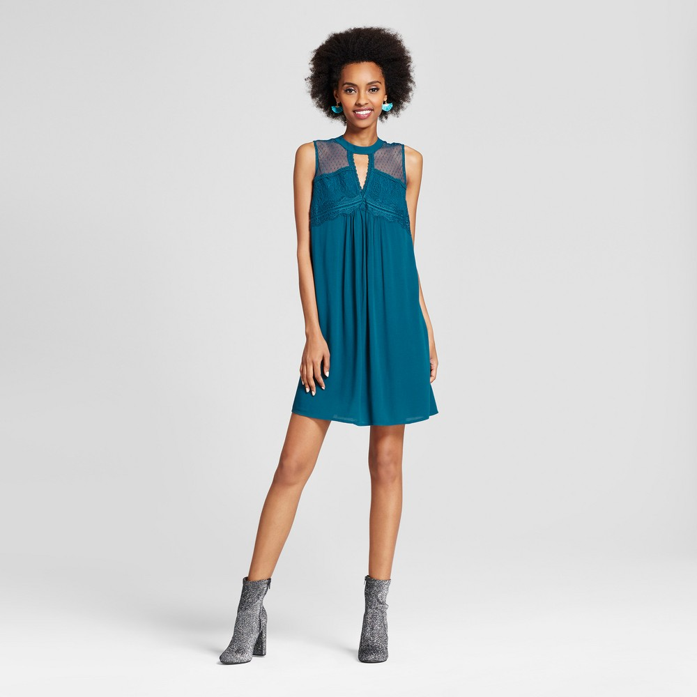 Womens Cutout Shift Dress - Xhilaration (Juniors) Deep Teal XL
