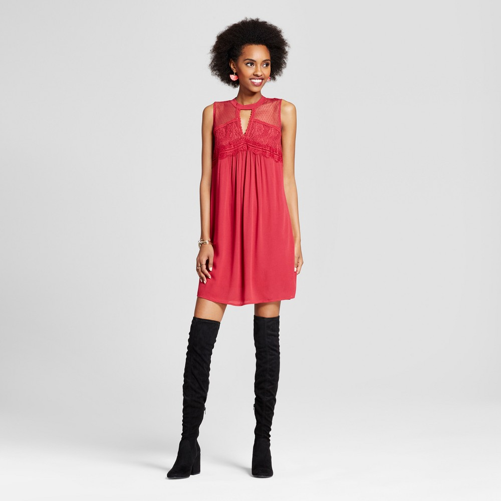 Womens Cutout Shift Dress - Xhilaration (Juniors) Crimson (Red) XS