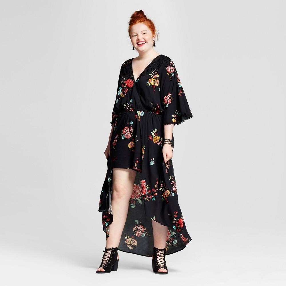 Womens Plus Size Walk Through Printed Romper - Xhilaration Black Floral Print 1X, Size: X