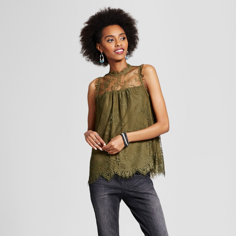 Womens Lace High-Neck Tank - Xhilaration (Juniors) Olive (Green) XL