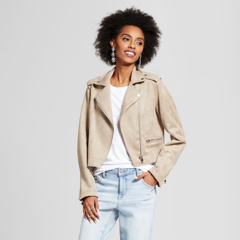 Womens Suede Moto Jacket - Xhilaration (Juniors) Tan S, Beige