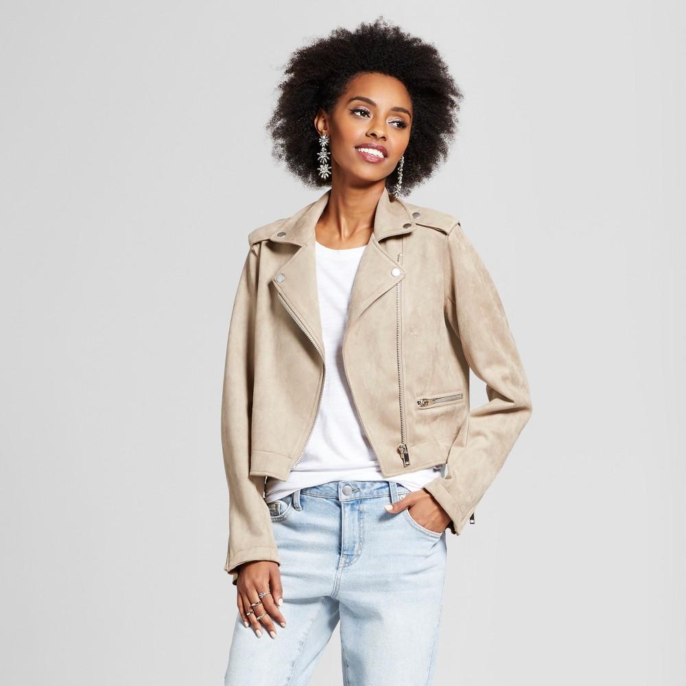 Womens Suede Moto Jacket - Xhilaration (Juniors) Tan M, Beige