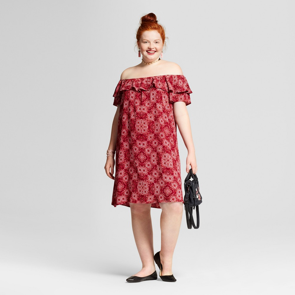 Womens Plus Size Printed Off the Shoulder Dress - Xhilaration Red Geo Print 3X