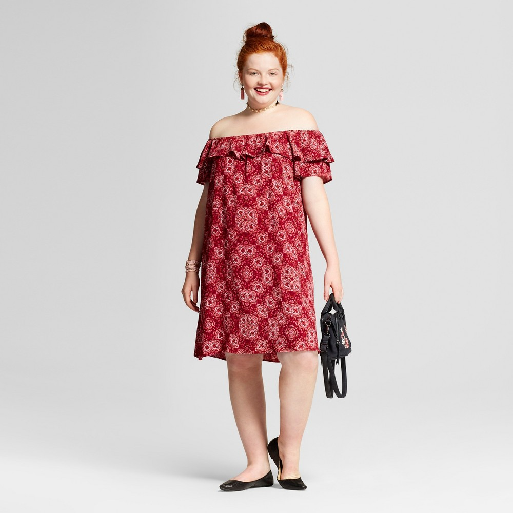 Womens Plus Size Printed Off the Shoulder Dress - Xhilaration Red Geo Print 1X