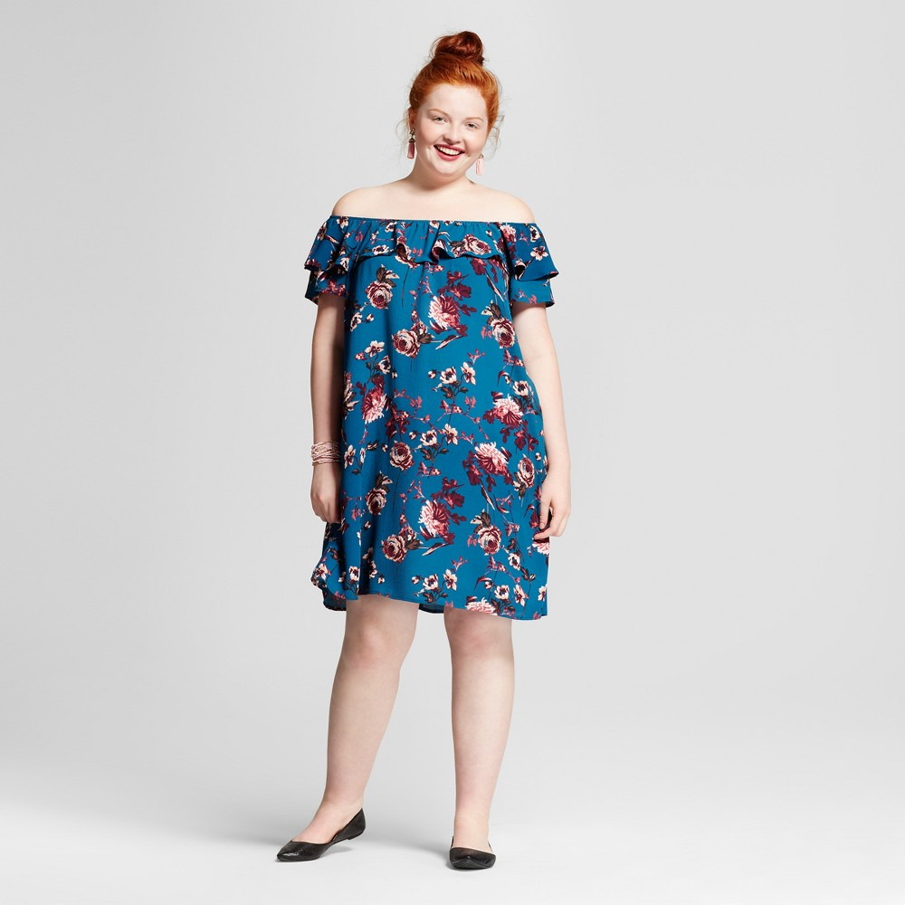 Womens Plus Size Printed Off the Shoulder Dress - Xhilaration Blue Floral Print X