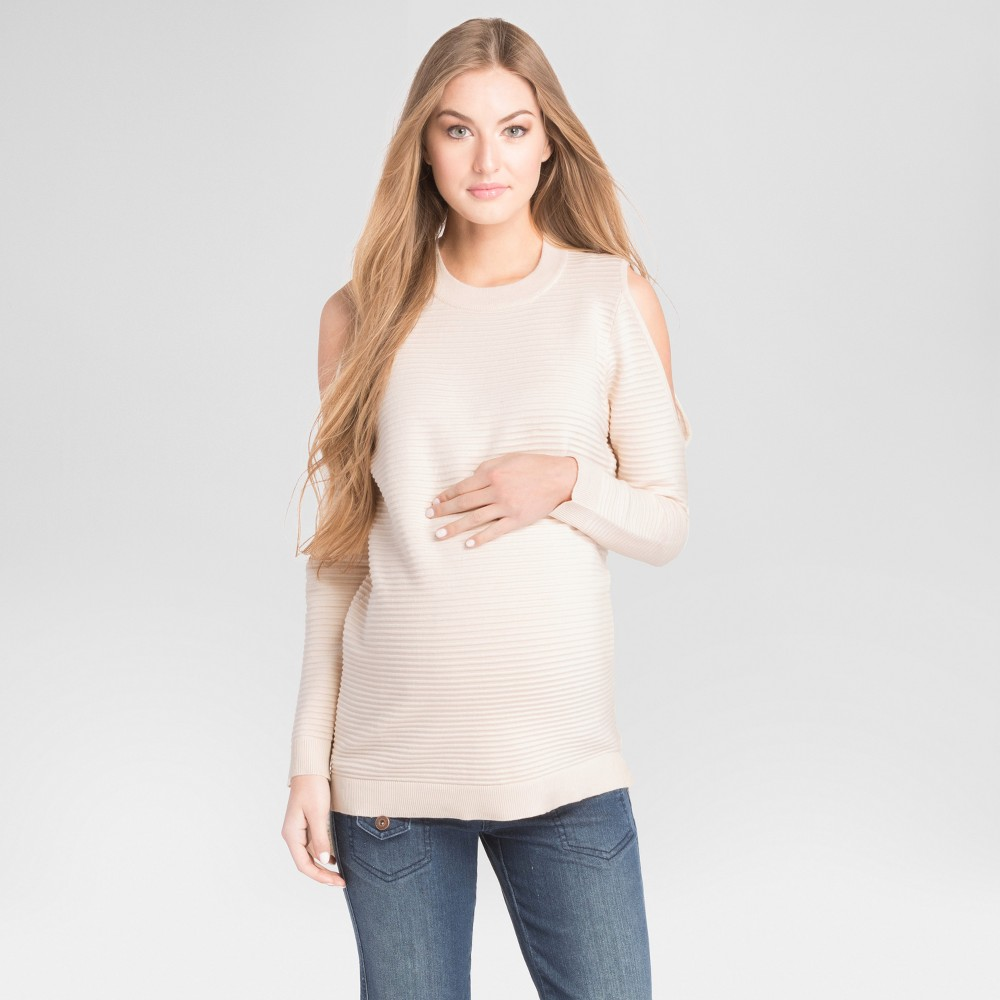 Maternity Ribbed Cold Shoulder Sweater Ivory L - Expected By Lilac, Womens