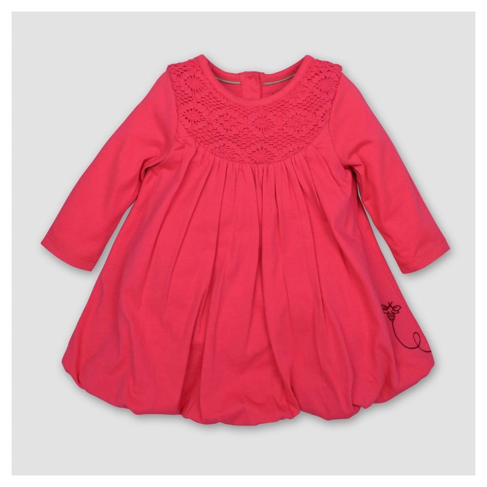Burts Bees Baby Girls Organic Crochet Yoke Bubble Dress - Magenta 6-9M, Size: 6-9 M, Pink