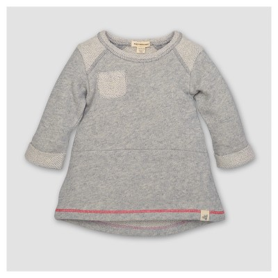 Burt's Bees Baby® Girls' Organic Loop Terry Pocket Dress - Heather Gray 3-6M