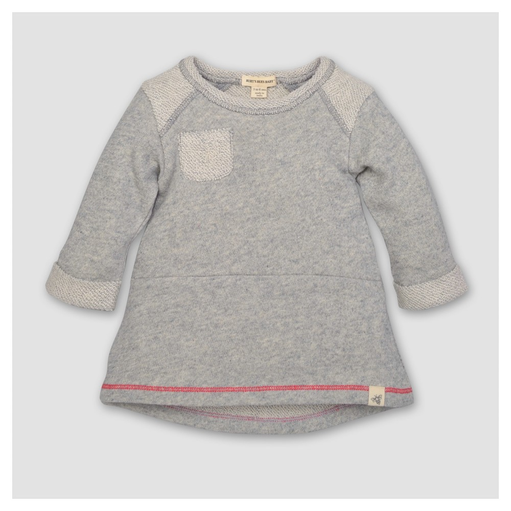 Burts Bees Baby Girls Organic Loop Terry Pocket Dress - Heather Gray 3-6M, Size: 3-6 M