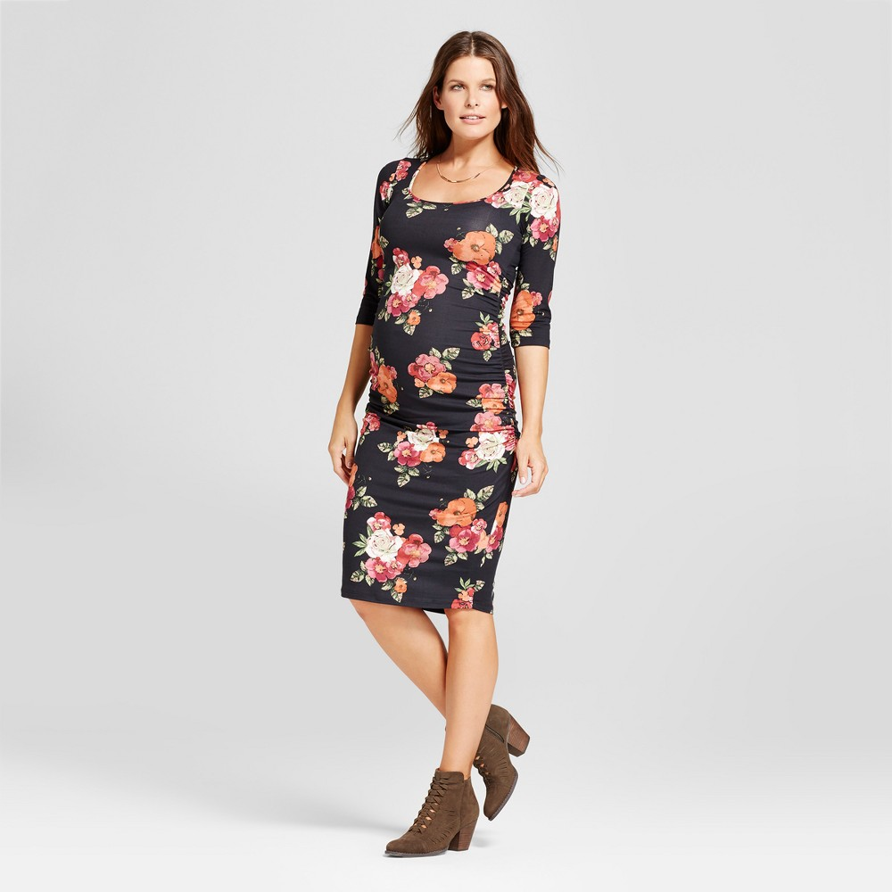 Maternity Ruched Bodycon Dress Black Floral - Spring 2017 XL - Expected By Lilac, Infant Girls, Black Pink