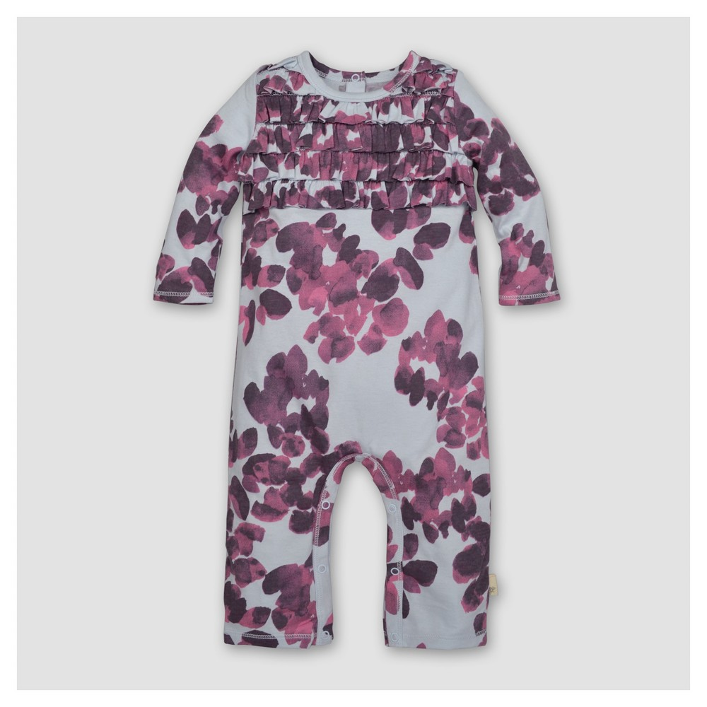 Burts Bees Baby Girls Organic Chocolate Cosmos Ruffled Coverall - Lavender 24M, Size: 24 M, Purple