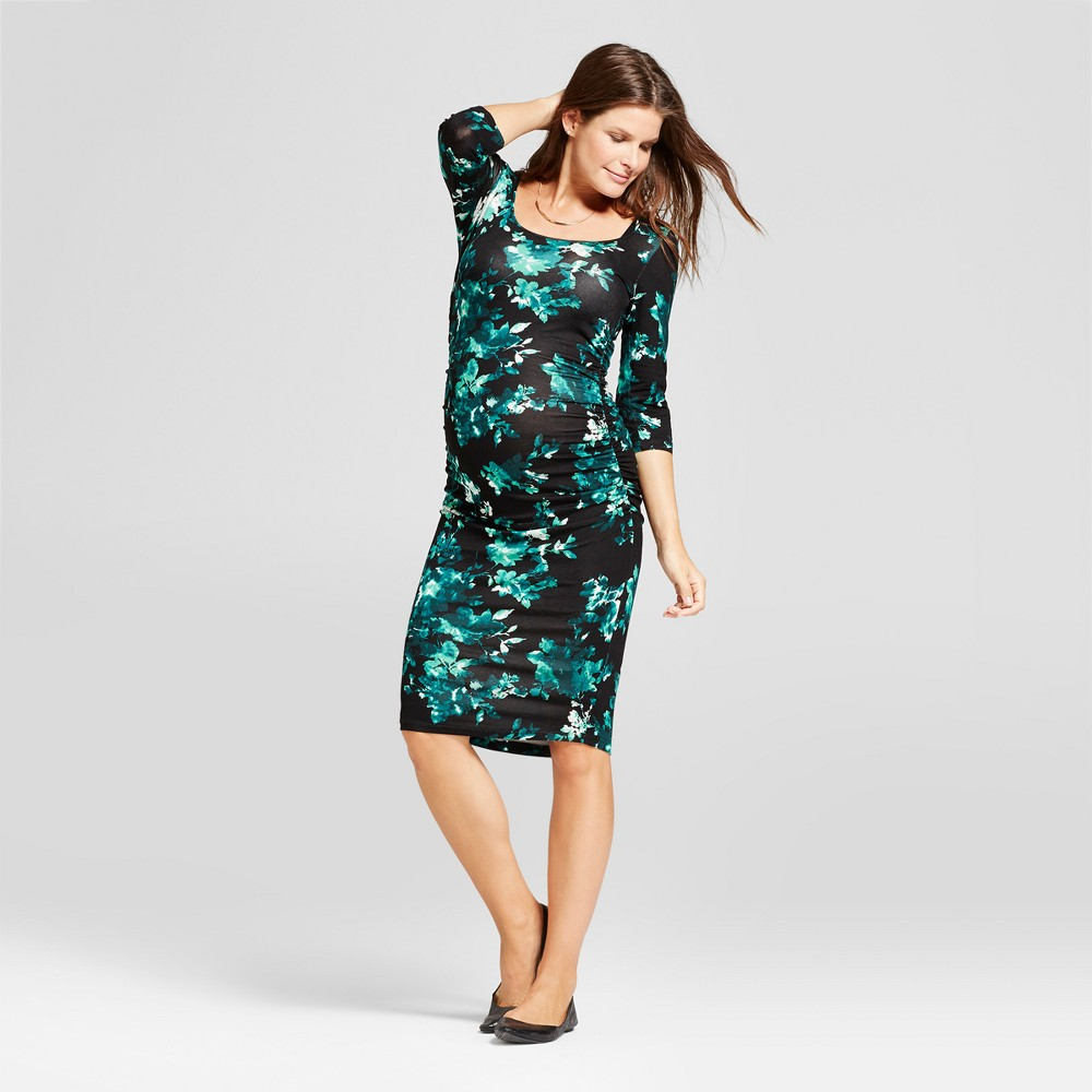 Maternity Ruched Bodycon Dress Teal Floral XL - Expected By Lilac, Infant Girls, Blue