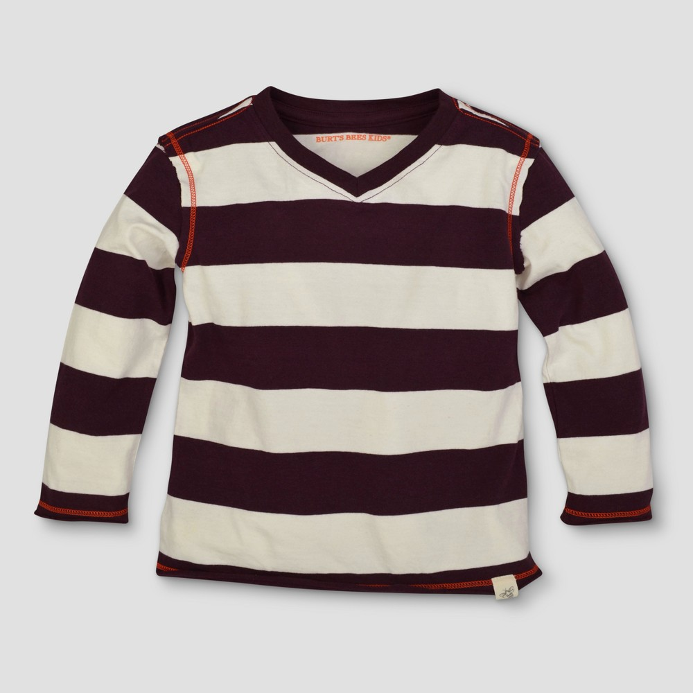 Burts Bees Baby Toddler Boys Rugby Stripe Long Sleeve V-Neck T-Shirt - Deep Autumn 6, Red