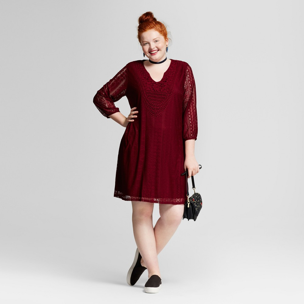 Womens Plus Size Lace Dress - Xhilaration Burgundy 2X, Red