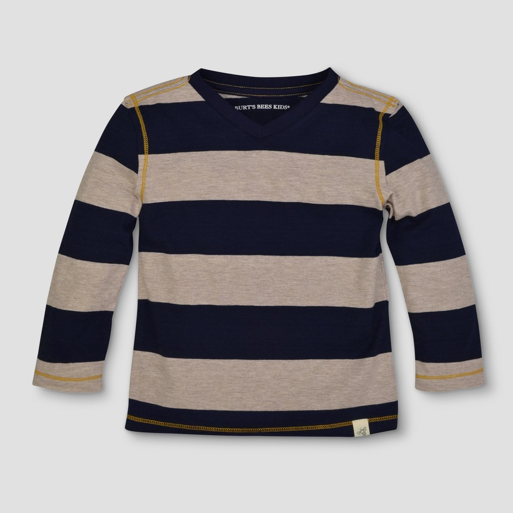 Burts Bees Baby Toddler Boys Rugby Stripe Long Sleeve V-Neck T-Shirt - Starry Night 5T, Size: 5, Blue