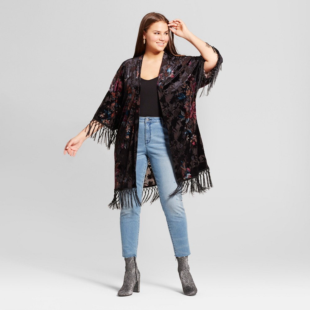 Womens Plus Size Burnout Printed Velvet Kimono - Xhilaration Black 4X