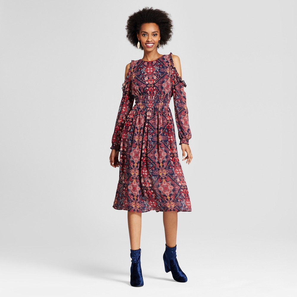 Womens Cold Shoulder Midi Dress - Xhilaration (Juniors) Indigo (Blue) XS